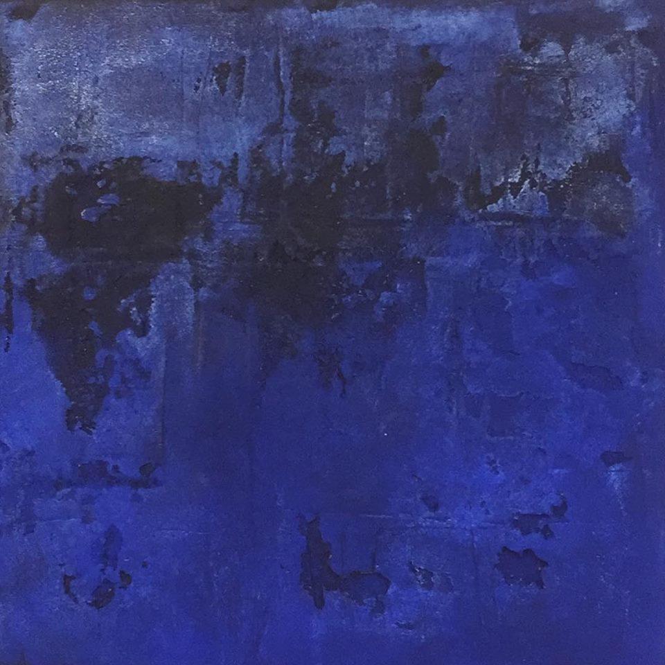 Blauer Planet? 70 x 70 x 4cm, Mixed Media mit Kalk
