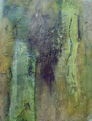 N° 13 - 50cm x 40cm, Es grünt so grün, Materialmix auf Leinwand