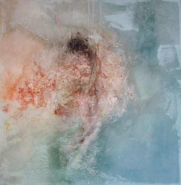 N°14 - 50cm x 50cm x 3,8cm, Blaue Explosion, Materialmix auf Leinwand
