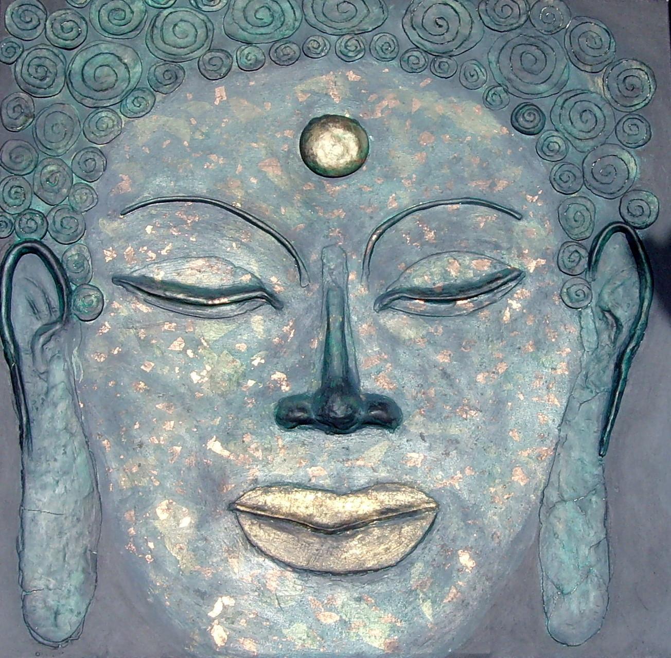 Buddha, 80cmx 80cm, Materialmix