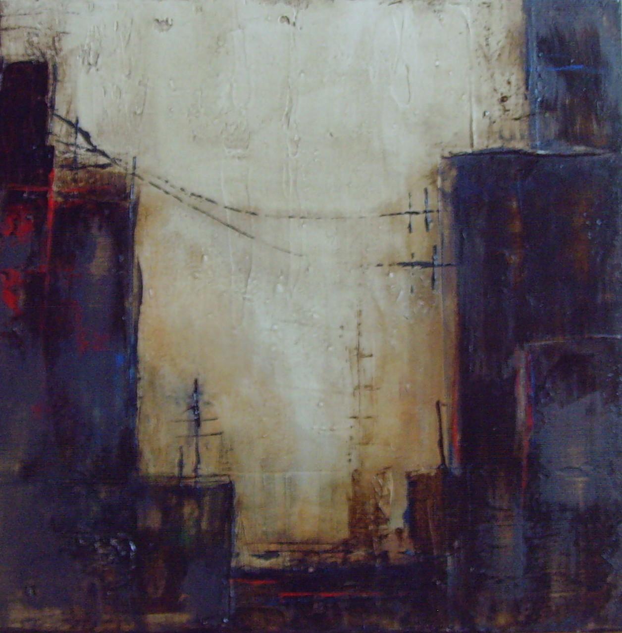 Bitumen-Häuserschlucht, 40cm x 40cm, Materialmix