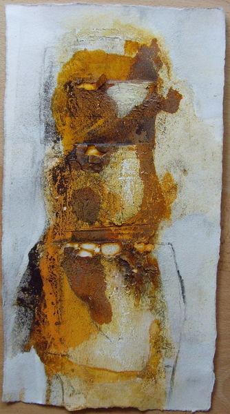 32,5cm x 18cm, Abstrakte Papierarbeit mit Sumpfkalk