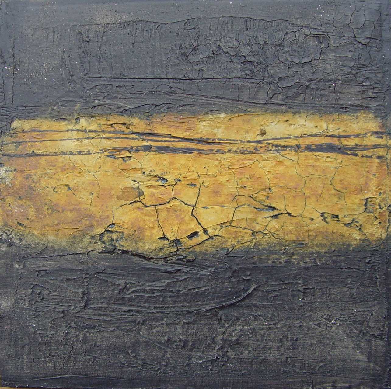 Ocker - Schwarz, 40cm x 40cm, Mixed Media