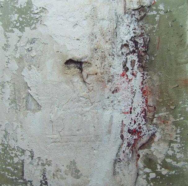 N°15 - 50cm x 50xm x 3,8cm, Materialmix auf Leinwand
