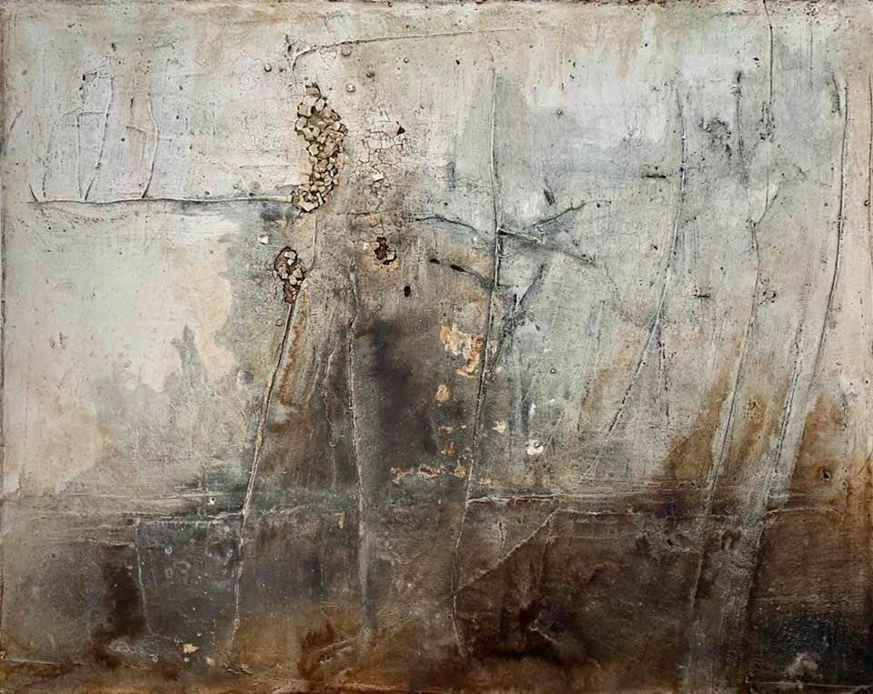 The Wall, 80cm x 1m, Mixed Media mit Beize