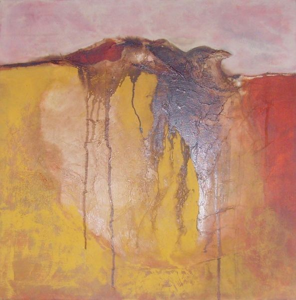 50cm x 50cm, Am Abgrund, Materialmix / Moorlauge