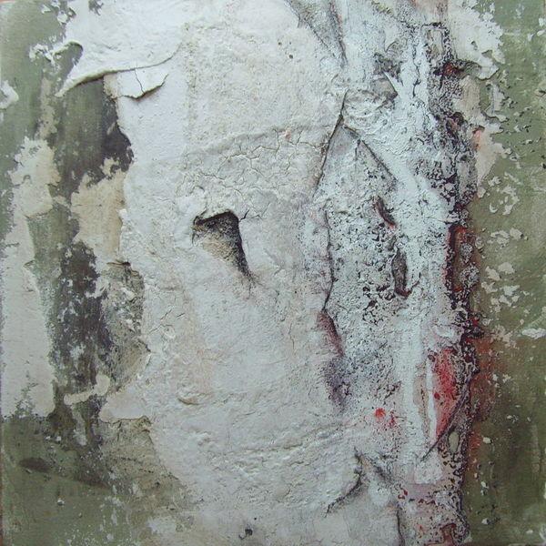 N°16 - 50cm x 50xm x 3,8cm, Materialmix auf Leinwand