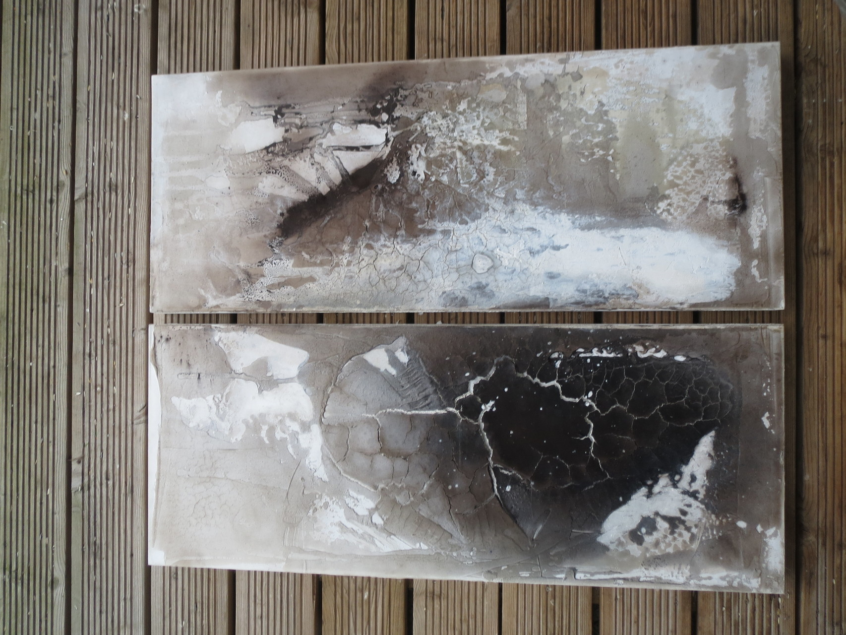 Schwarzes Tief, 2 x 40cm x 1m, Mixed Media auf Leinwand