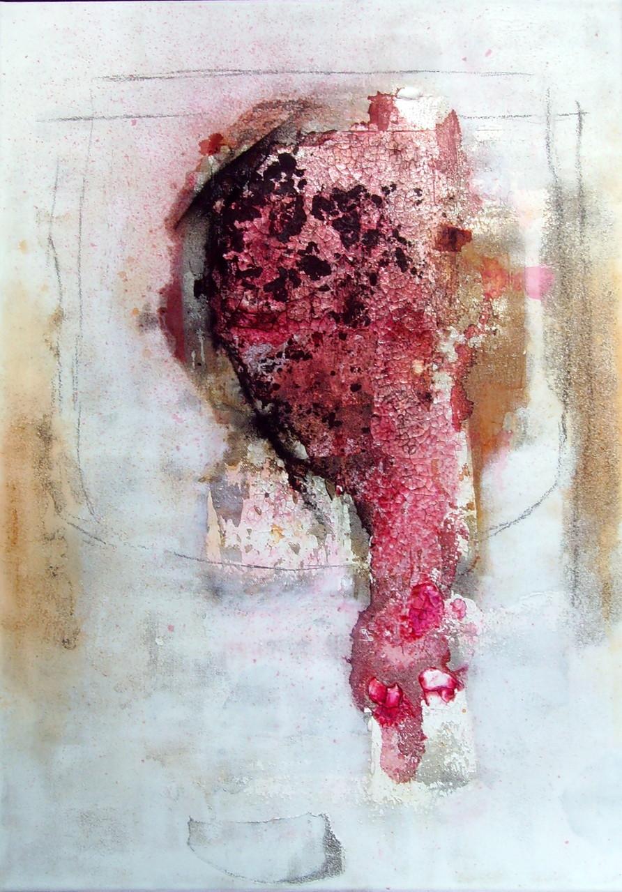 Von Rot zu Pink. 50cm x 70cm x 1,8cm, Mixed Media