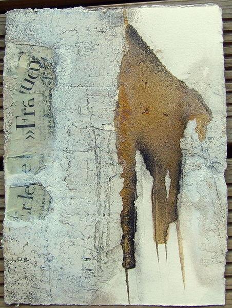 N°17 - Abstrakte Papierarbeit gerahmt, Materialmix