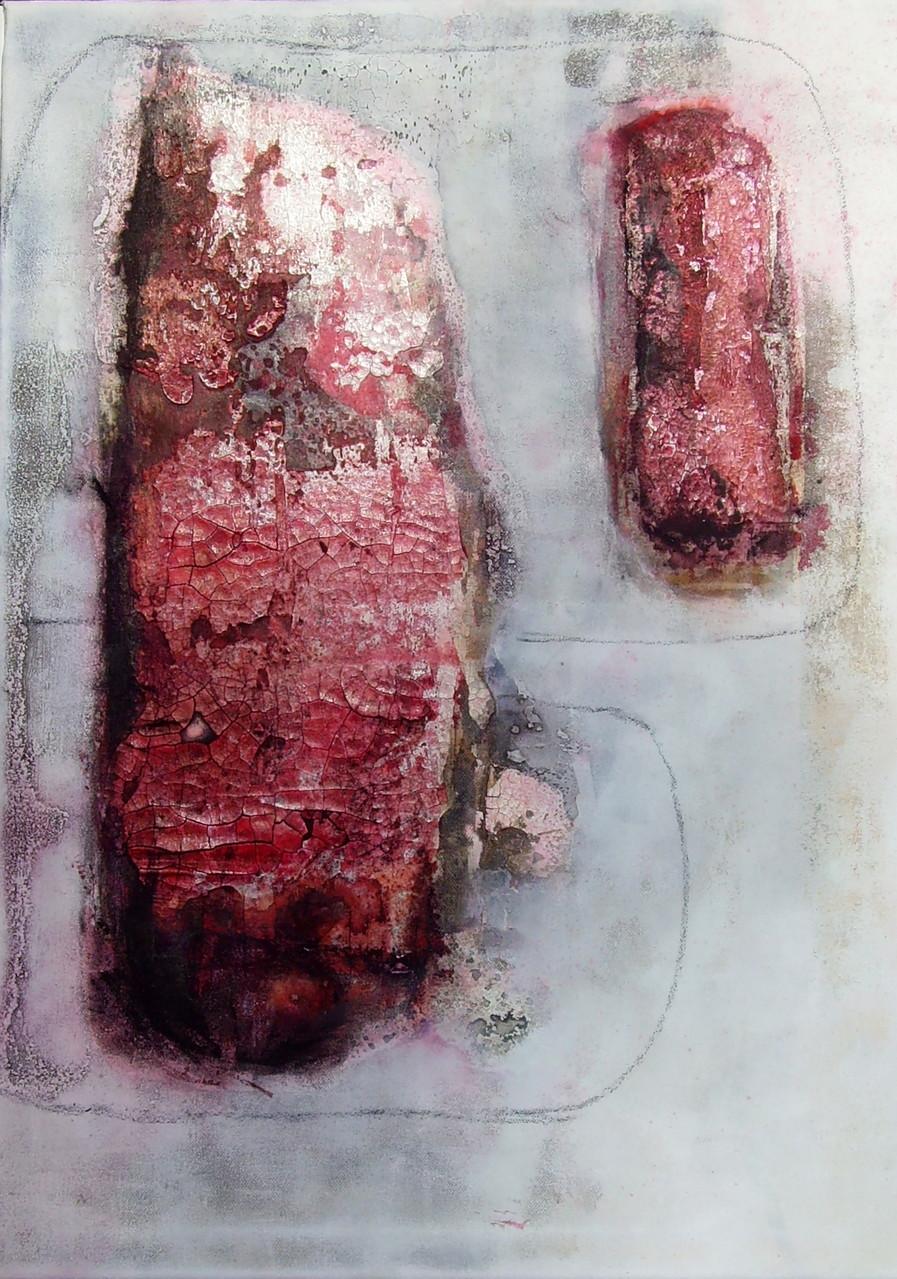 2x von Rot zu Pink, 50cm x 70cm x 1,8cm, Mixed Media