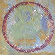 Abstraktes Rund, 60cm x 60cm, Acryl + Schlagmetal auf Leinwand