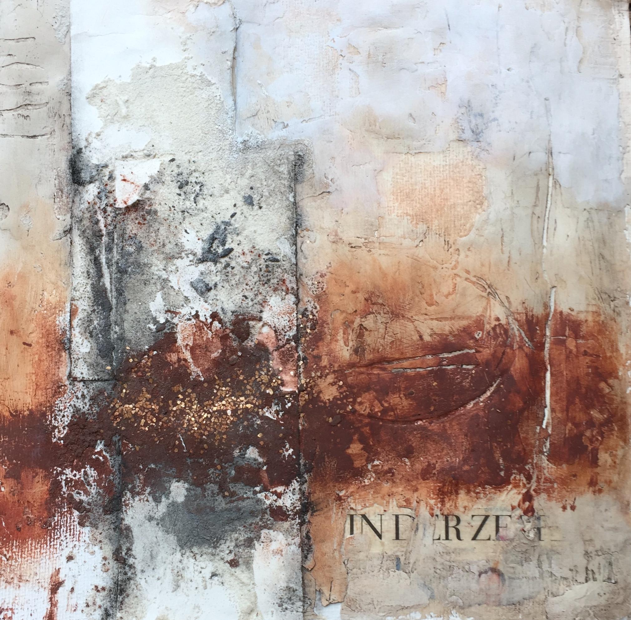 In der Zeit, Mixed Media auf Büttenpapaier, 32,5 x 32,5 cm