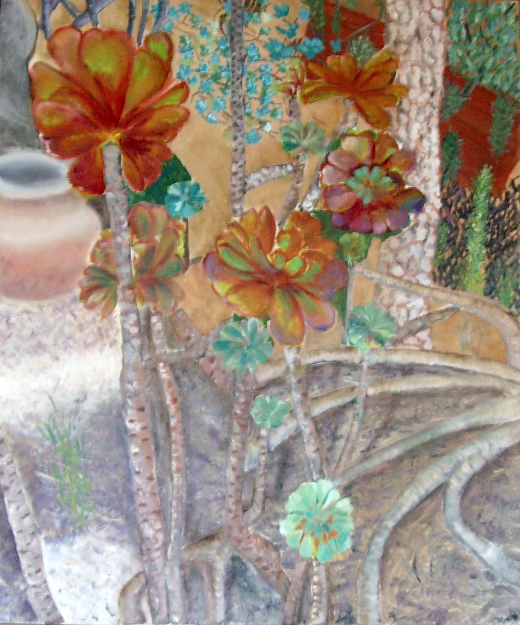 Sukkulenten, 50cm x 70cm. Öl auf Leinwand
