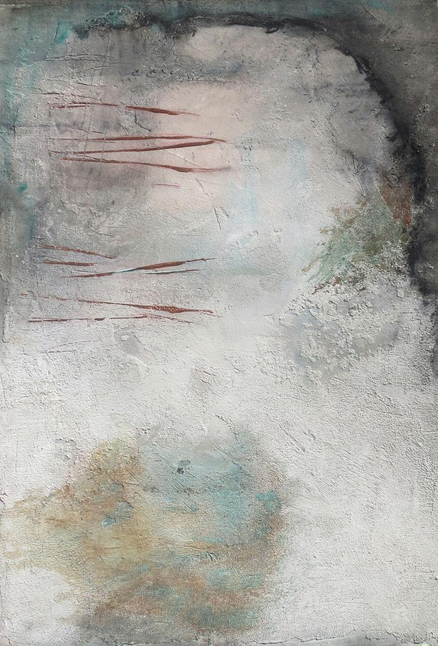 Eishöhle, 35cm x 53cm. Malkarton, Mixed Media