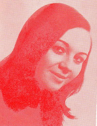 Concha Isabel Ballester Calero. Cort de la Fallera Major de València 1975