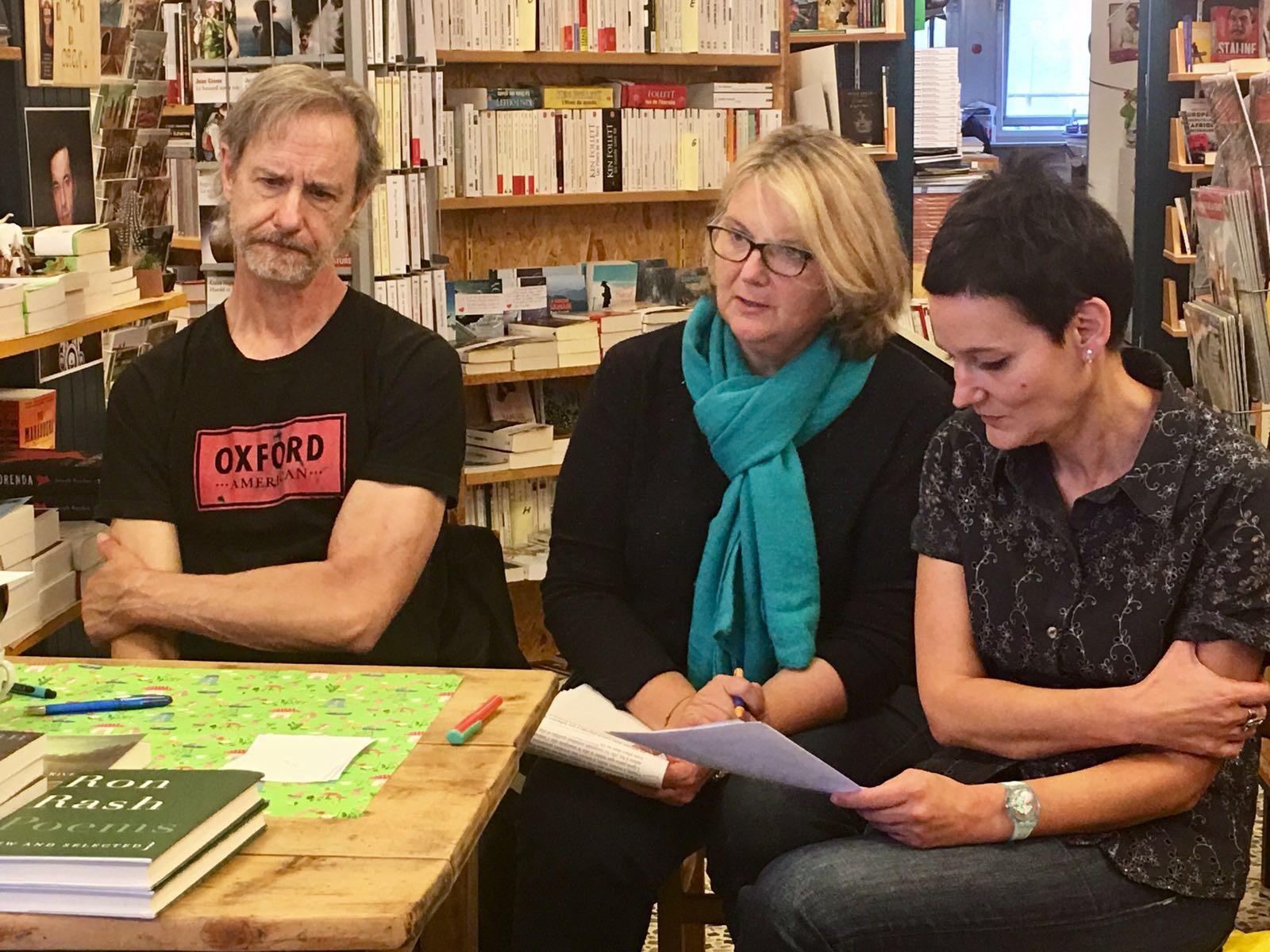 Pendant la rencontre à la Librairie du Midi, avec Corinne Borloz (traduction) et Marie Musy