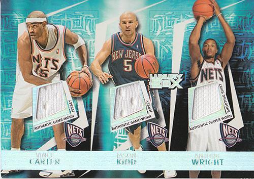 2005-06 Topps Luxury Box Triple Double 5 Relics #15 Vince Carter Jason Kidd Antoine Wright Richard Jefferson Nenad Krstic