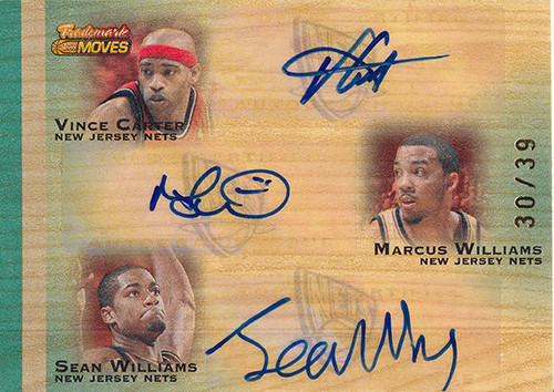 2007-08 Topps Trademark Moves Triple Ink #CWW Vince Carter Marcus Williams Sean Williams