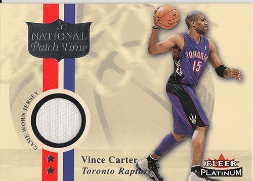 2001-02 Fleer Platinum National Patch Time #20 Vince Carter