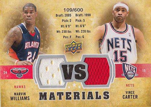 2009-10 Upper Deck VS Dual Materials #VSCW Marvin Williams Vince Carter
