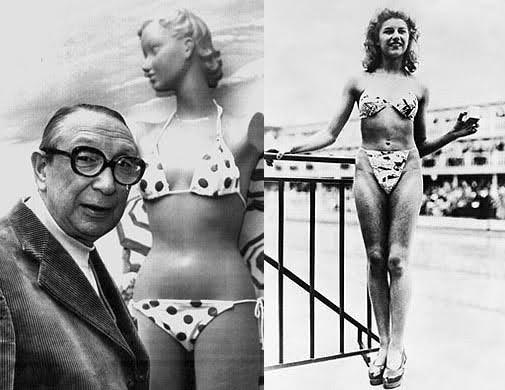 Nel luglio del 1946 venne lanciato il bikini, presentato dallo stilista Louis Reard alla piscina Molitor di Parigi. Il nome richiama l'atollo di Bikini nelle Isole Marshall, nel quale negli stessi anni gli Stati Uniti conducevano test nucleari