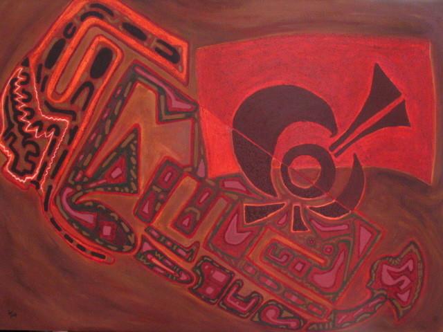 El baile y la tierra (La danse et la terre) 92x65 cm, 2007, acrylique sur toile.