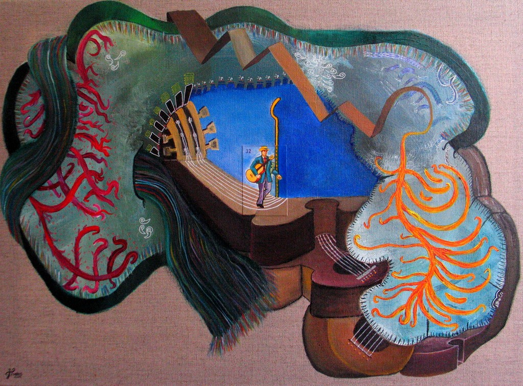 El Músico (Le Musicien), 50x70 cm, acrylique et collage. (Collection privée Bordeaux)