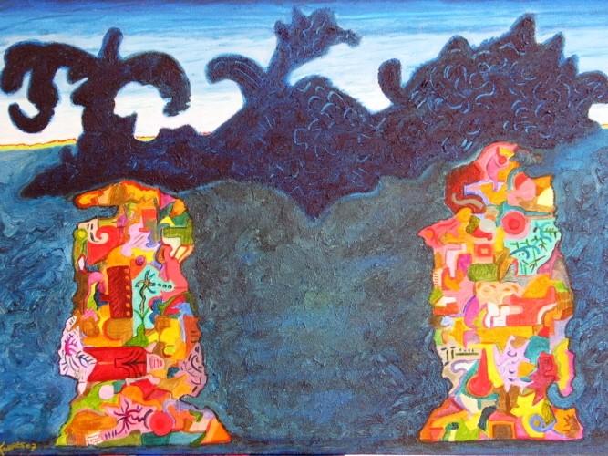 Haramara (Où les ancêtres sont sortis de la mer, en Huichol),  70x50 cm, 2007, acrylique sur toile.