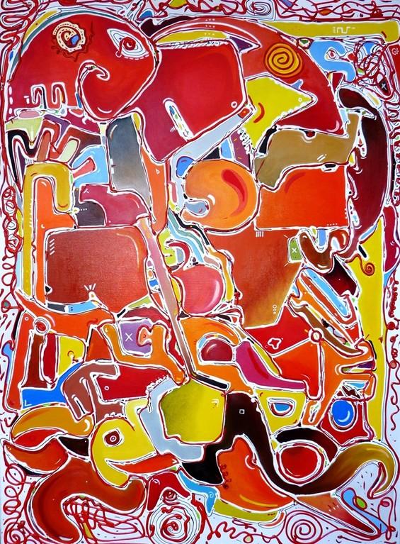 """"""" Pirulí """" 100x73 cm. Acrylique et huile sur lin. 2012"""