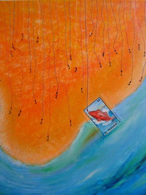 El Pescado, 50x50 cm, acrílico y collage sobre tela.