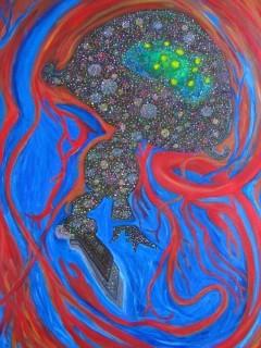 Alebrije Meduse, 65X50 cm, 2007, acrylique sur toile.