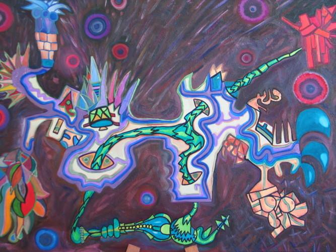 Alebrije Felin 92X65cm, 2007, acrylique sur toile.