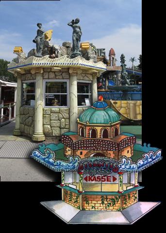 ATLANTIS RAFTING - DIE Jahrmarkts-/Kirmes-Wildwasserbahn: Das Kassenhaus vom Entwurf zur Realität war es manchmal ein weiter Weg