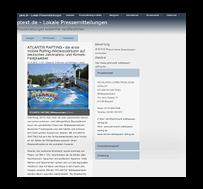 ATLANTIS RAFTING Wildwasserbahn - Pressemeldung / PText