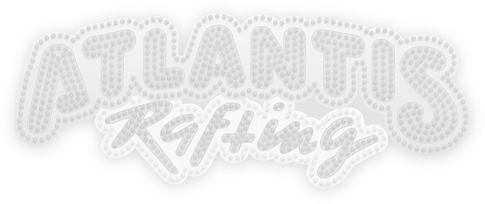 """Grafik / ATLANTIS-Wildwasserbahn: """"ATLANTIS RAFTING bei-Logo als Wasserzeichen"""""""