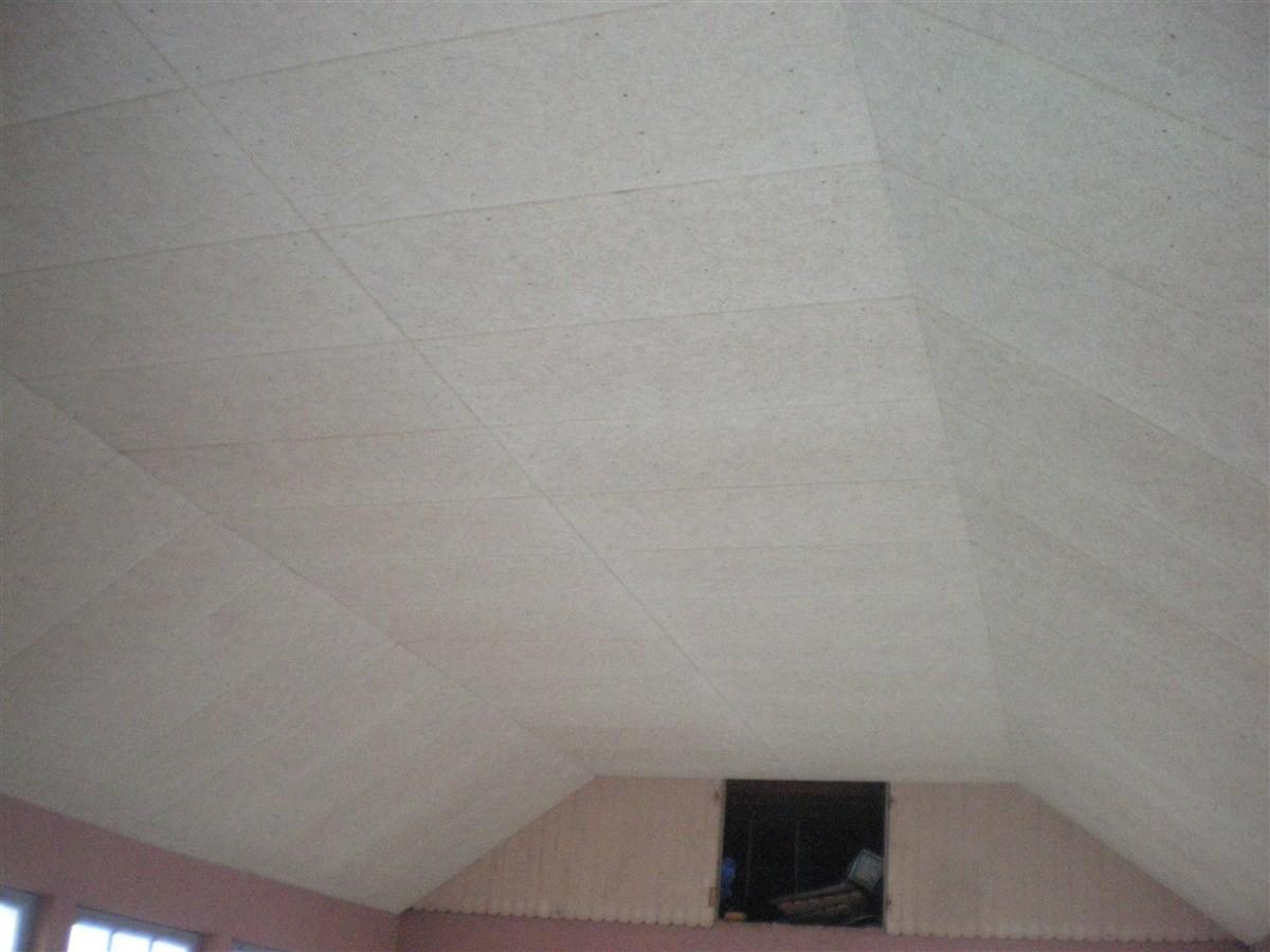 Semaine 1 : pose d'un nouveau plafond phonique dans le préau