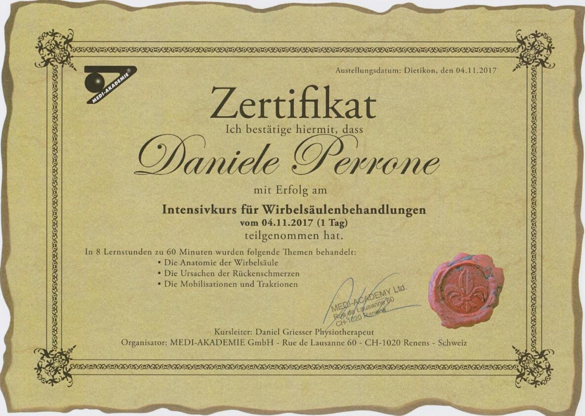 Zertifikat ~ Intensivkurs für Wirbelsäulenbehandlung
