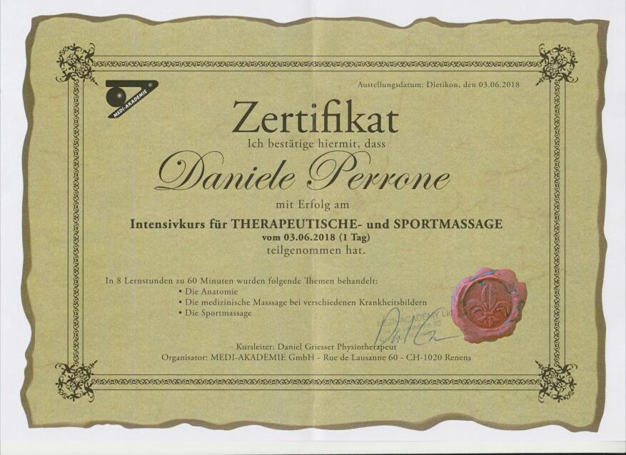 Diplom ~ Intensivkurs für Therapeutische und Sportmassage