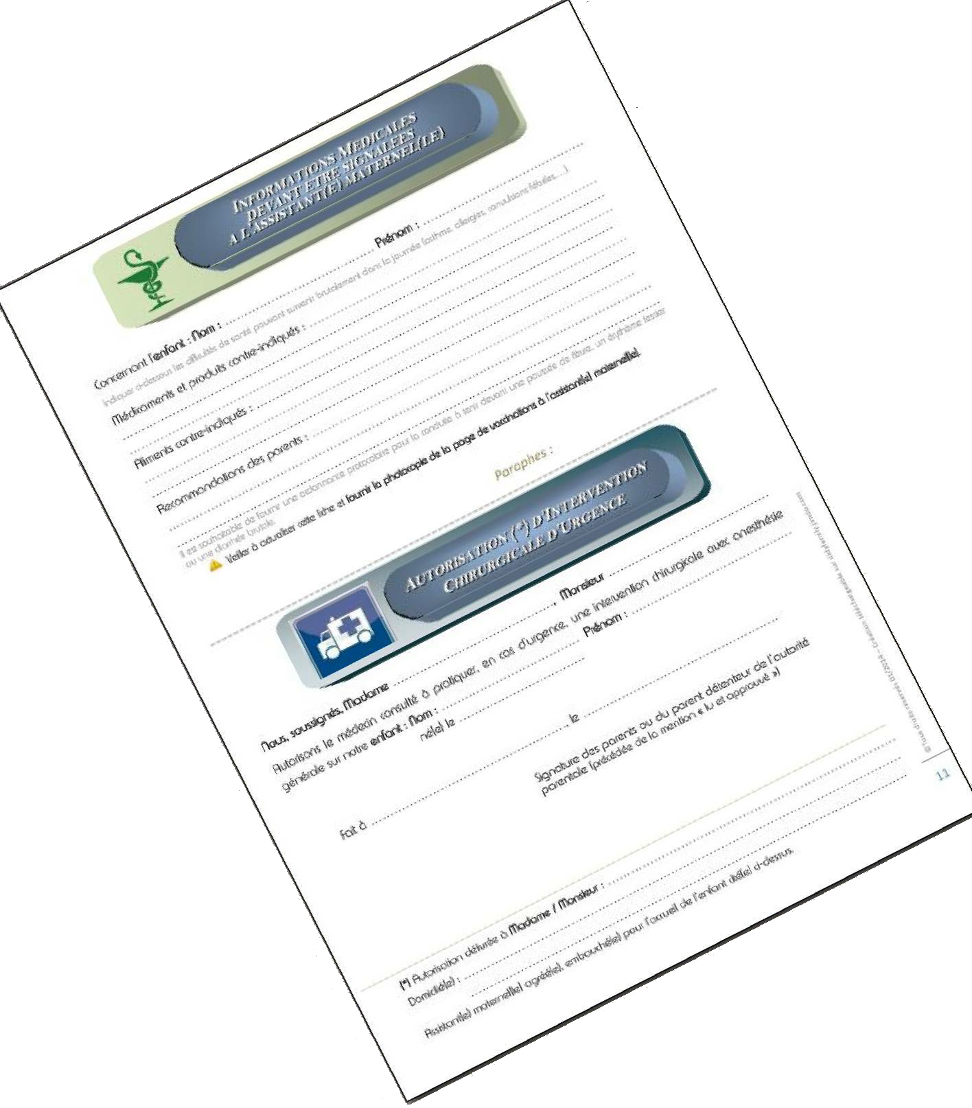 Informations médicales & Autorisation d'intervention chirurgicale d'urgence