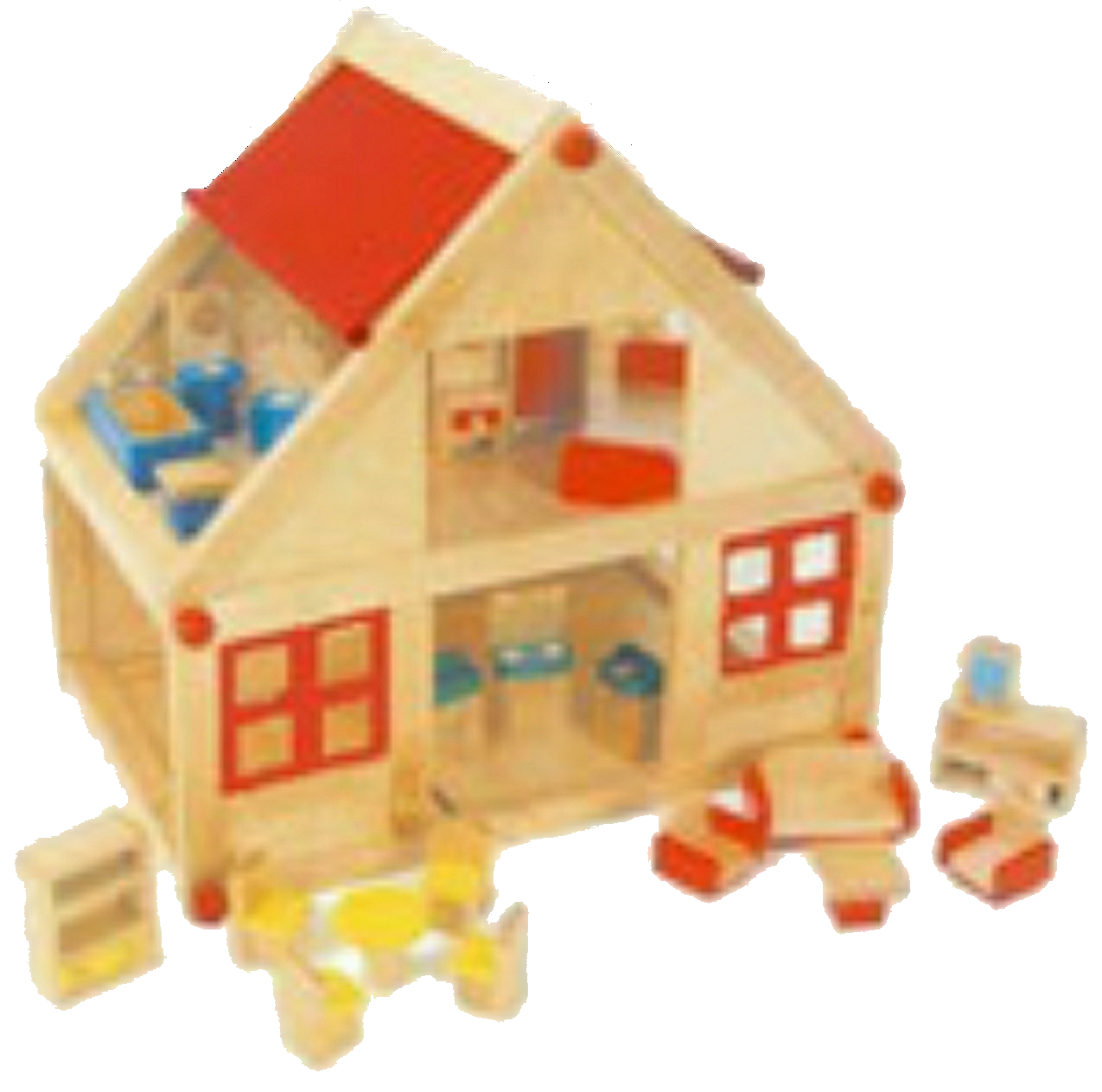 Maison de poupées avec meubles et poupées miniatures