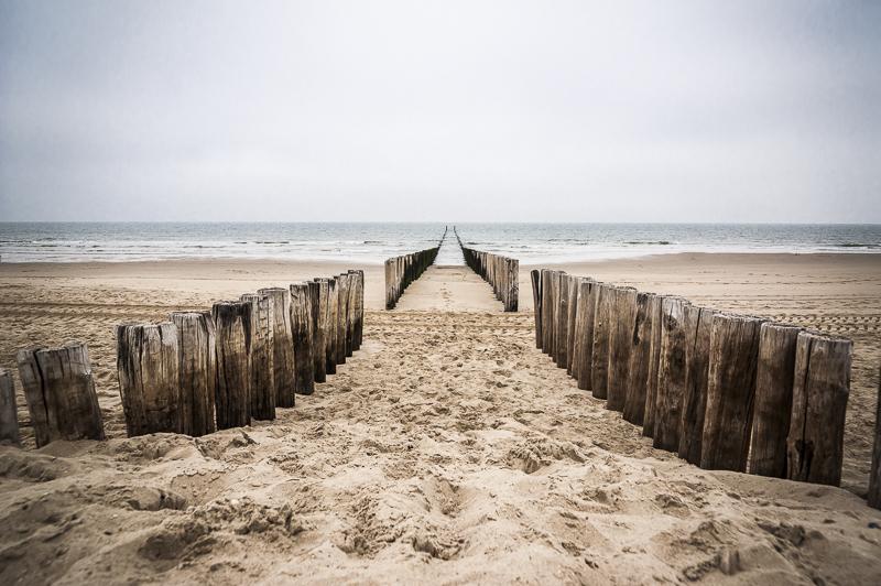 Paalhoofden op het strand van Domburg. Bijna symmetrisch beeld