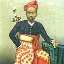 Historisches Foto 1894 Anak Agung Made, Prinz v. Karangasem, Bali m. Kris