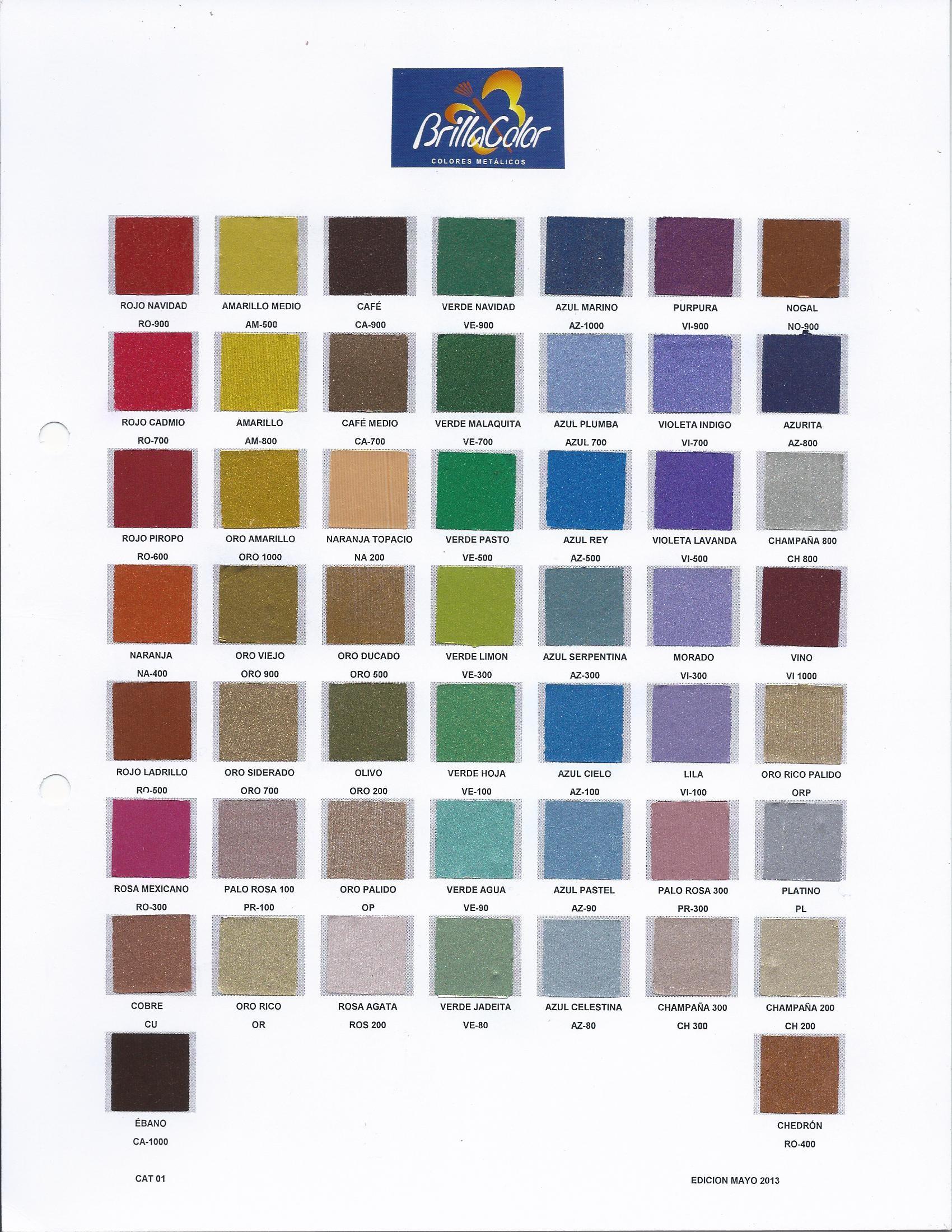 Cat logos productos pinturas met licas y texturizados - Catalogo colores pintura ...