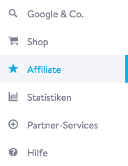 Jimdo Affiliate Partnermenü