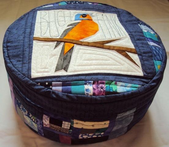 Meditationskissen mit abnehmbaren Bezug - blauer Buchfink