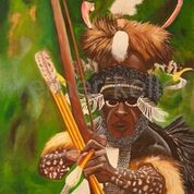 Krieger aus Neu Guinea - Original: Öl auf Leinwand, 100x100 cm