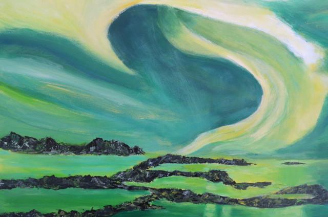 Polarlicht grün (60 x 70), Acryl gespachtelt