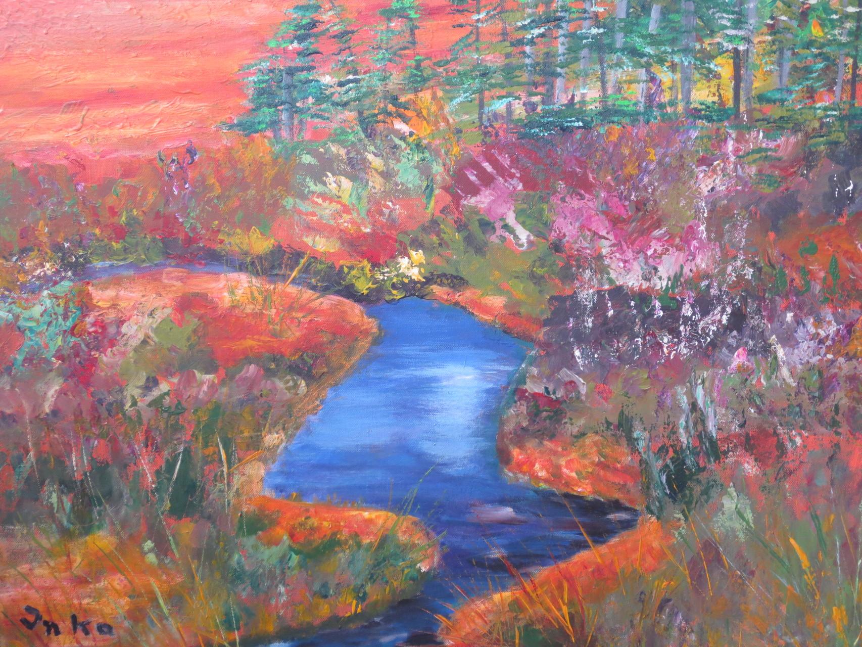 Salmenjoki, Fluss aus dem Wald (60 x 80)