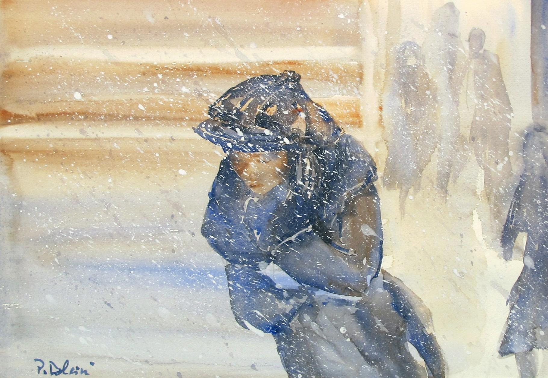 Donna sotto la neve - acquerello di Patrizia Dolcini